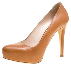 Prada Leather Platform Brown Pumps