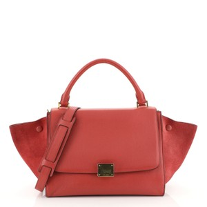Céline Trapeze Handbag Leather Satchel in red