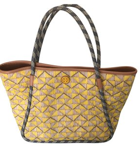 Tory Burch Tote in Gold/Gray Weave