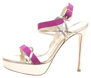 Gianvito Rossi Leather Suede Ankle Strap Platform Gold Sandals