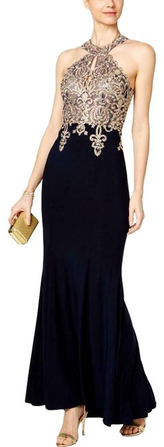 Item - Black Womens Navy Embroidered Halter Gown Ch Long Formal Dress Size Petite 10 (M)