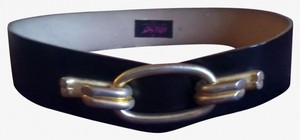 Other Miso Black Leather Belt w/ Gold Clasp