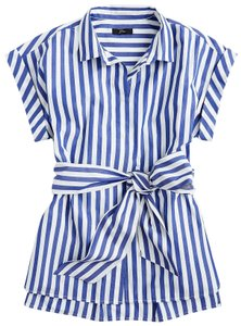 J.Crew Top white and blue stripes