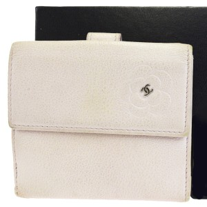 Chanel Authentic CHANEL CC Logos Camellia Bifold Wallet Purse Leather Pink
