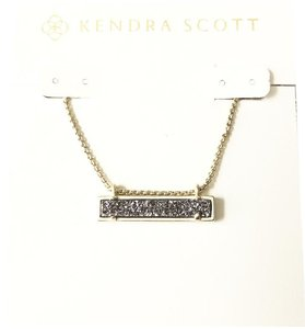 Kendra Scott New Kendra Scott Leanor Bar Necklace GOLD Platinum Drusy Quartz