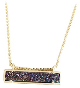 Kendra Scott New Kendra Scott Leanor Bar Necklace GOLD Multicolor Drusy Quartz