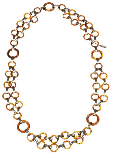 Item - Gold Ysl Circular Faux Tortoise Shell Chain Necklace