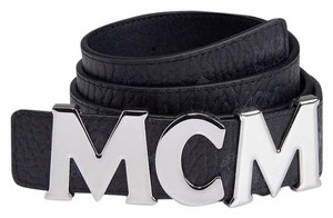 MCM BRAND NEW UNISEX MCM BLACK LEATHER MONOGRAM VISETOS SILVER BUCKLE HOOK