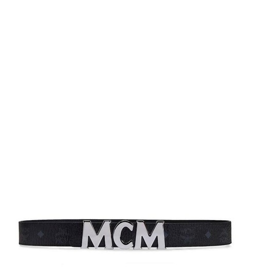 MCM BRAND NEW UNISEX MCM BLACK LEATHER MONOGRAM VISETOS SILVER BUCKLE HOOK Image 1