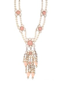 Chanel CHANEL Pink Floral Faux Pearl Necklace
