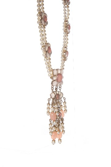 Chanel CHANEL Pink Floral Faux Pearl Necklace Image 1
