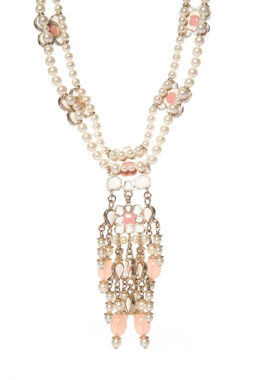 Chanel CHANEL Pink Floral Faux Pearl Necklace Image 2