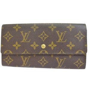 Louis Vuitton Authentic LOUIS VUITTON Credit Long Bifold Wallet Purse Monogram Brown