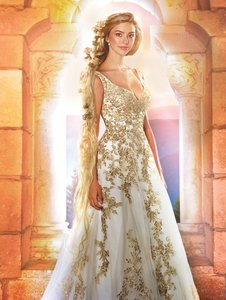 Ivory/Gold Embroidery Tulle/Metallic Aa-rapunzel Formal Wedding Dress Size 6 (S)