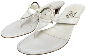 "Salvatore Ferragamo Leather Heel Height 2.5"" White Sandals"