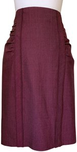 Nanette Lepore Pencil Ruched High Waist Skirt red purple