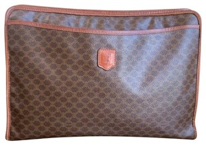 Céline Macadam Large Vintage Brown Clutch