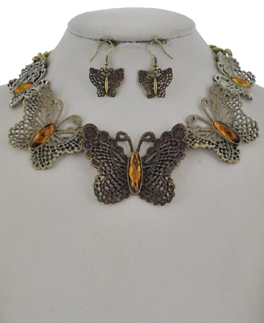 Item - Orange Brown Acrylic Butterfly Earring Set Necklace