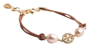 Tory Burch Tory Burch Miller Pearl Bracelet Cultured Pearls Vachetta Leather GOLD