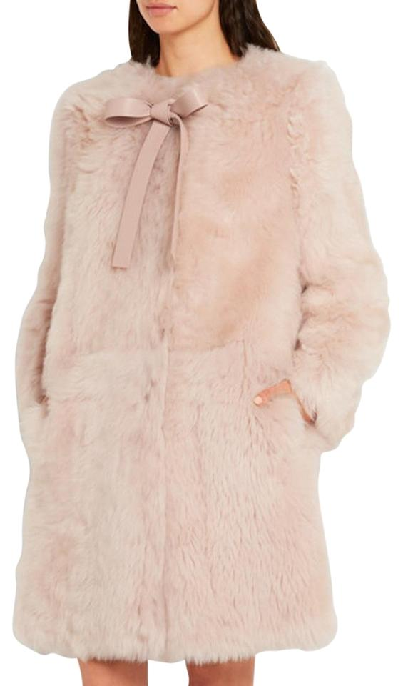 new authentic buy large assortment Miu Miu Pink Leather Trimmed Shearling Coat Size 4 (S) 51% off retail