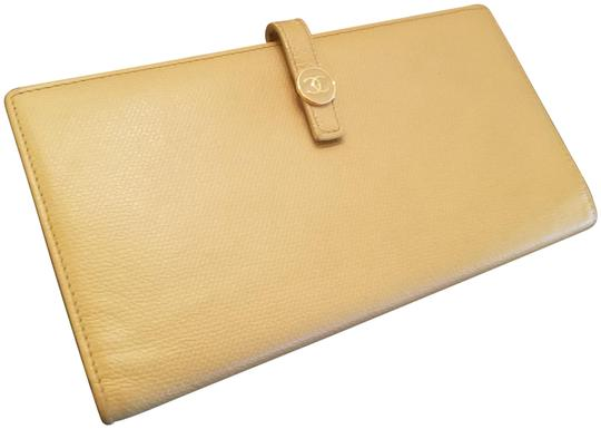 Chanel CHANEL VINTAGE CREME YELLOW LONG WALLET CLUTCH Image 1