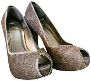 Stuart Weitzman Calf Hair Peep Toe Ultra High Textured Gray Brown Pumps