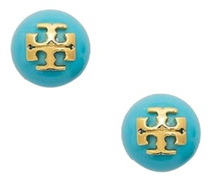 Tory Burch New Tory Burch Crystal Evie Pearl Studs TURQUOISE with Gold Logo