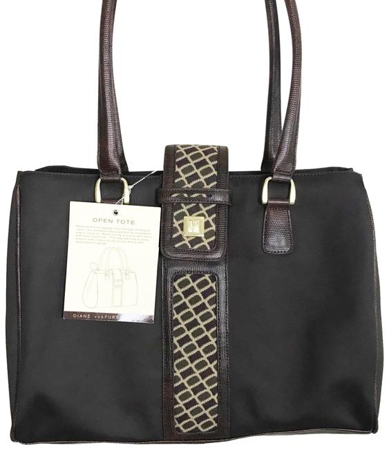 Item - Open Dvf Extra Large Brown Poly-twill Fabric Faux Lizard Skin Trim Tote