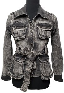 Sugarfly Medium Wash Belted Front Black and White Womens Jean Jacket