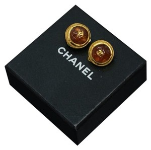 Chanel Vintage Chanel Amber and Gold-tone CC Logo Round Earrings