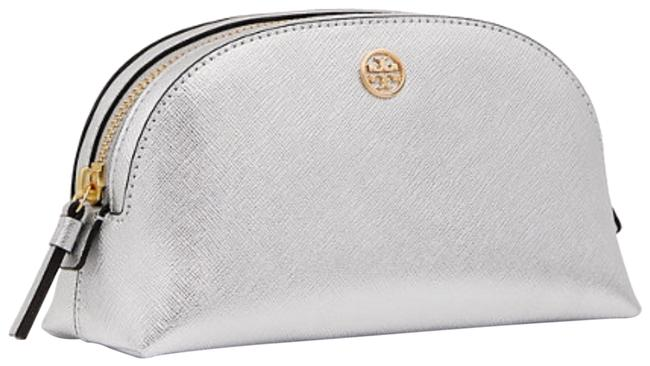 Item - Silver Metallic Saffiano Leather Logo Makeup Pouch Cosmetic Bag
