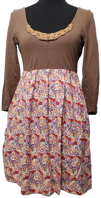 Item - Brown Long Sleeves Dress/ Floral Mid-length Short Casual Dress Size 8 (M)