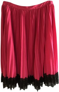 Karl Lagerfeld Pleated Lace Trim Skirt Hot Pink/ Cerise