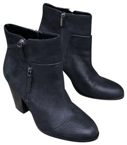 Vince Camuto Chunky Leather Ankle Black Boots