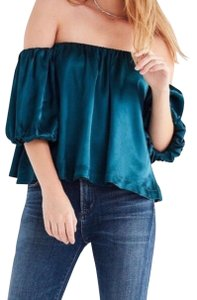 Urban Outfitters Split Back Off The Shoulder Top Turquoise