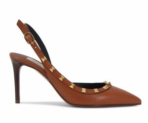 Valentino Studded Pointed Toe Leather Ankle Strap Stiletto brown Pumps