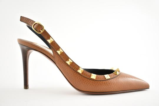 Valentino Studded Pointed Toe Leather Ankle Strap Stiletto brown Pumps Image 1