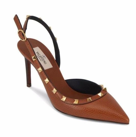 Valentino Studded Pointed Toe Leather Ankle Strap Stiletto brown Pumps Image 2