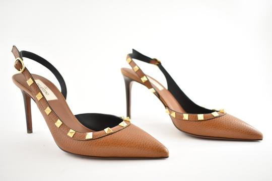 Valentino Studded Pointed Toe Leather Ankle Strap Stiletto brown Pumps Image 3