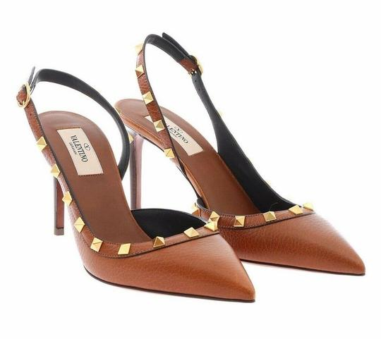 Valentino Studded Pointed Toe Leather Ankle Strap Stiletto brown Pumps Image 4