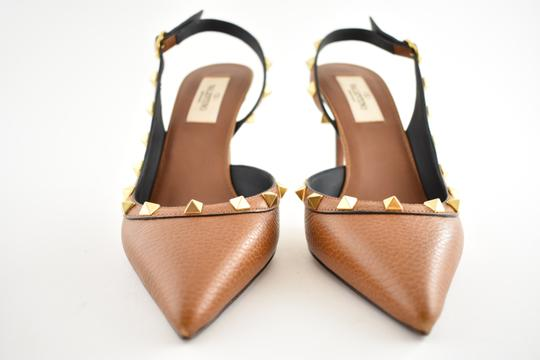 Valentino Studded Pointed Toe Leather Ankle Strap Stiletto brown Pumps Image 5