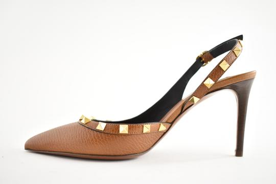Valentino Studded Pointed Toe Leather Ankle Strap Stiletto brown Pumps Image 7