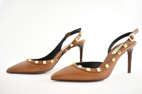 Valentino Studded Pointed Toe Leather Ankle Strap Stiletto brown Pumps Image 8