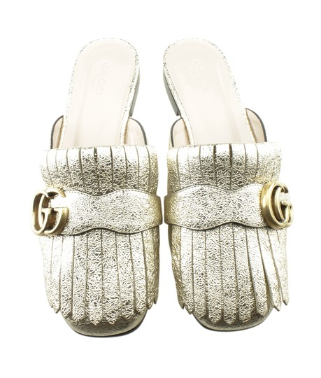 Gucci Leather Gold Mules Image 4