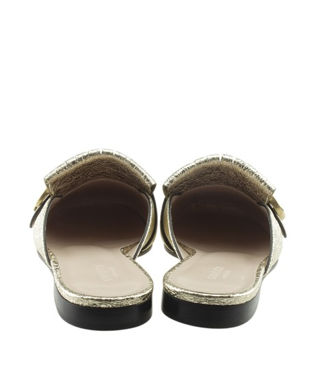 Gucci Leather Gold Mules Image 5