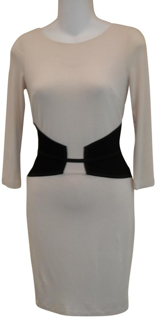 Item - Beige and Black Long Sleeve 2-tone Stretch Short Night Out Dress Size 2 (XS)