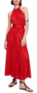 Zara Halter Maxi Ruffle A-line Backless Dress