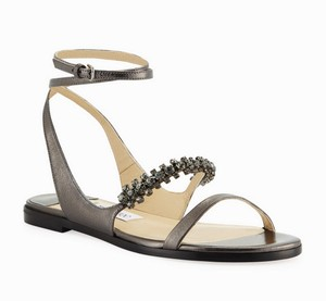 Jimmy Choo Dressy Jeweled Hollywood Anthracite Sandals
