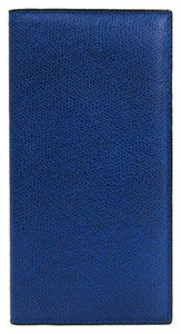 Valextra Valextra Vertical 12 Card V8L21-044-000U Unisex Embossed Leather Long Bill Wallet (bi-fold) Royal Blue