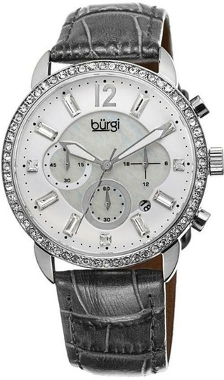 Preload https://img-static.tradesy.com/item/25944709/burgi-mother-of-pearl-crystal-chronograph-stainless-steel-grey-leather-quartz-ladies-watch-0-1-540-540.jpg